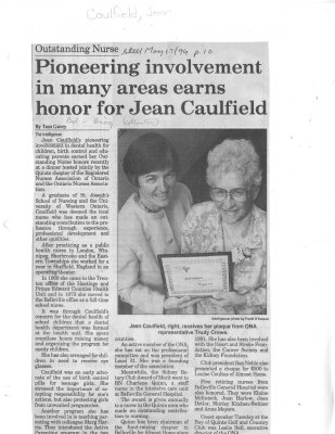 Pioneering involvement in many areas earns honor for Jean Caulfield