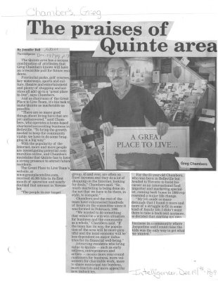 The praises of Quinte area