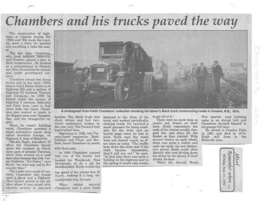 Chambers and his trucks paved the way