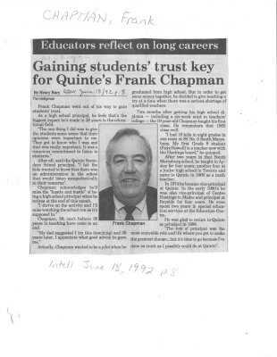 Gaining students' trust key for Quinte's Frank Chapman