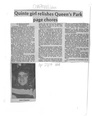 Quinte girl relishes Queen's Park page chores