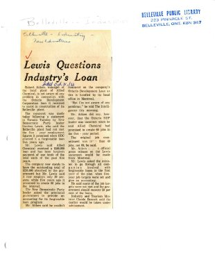 Lewis Questions Industry's Loan