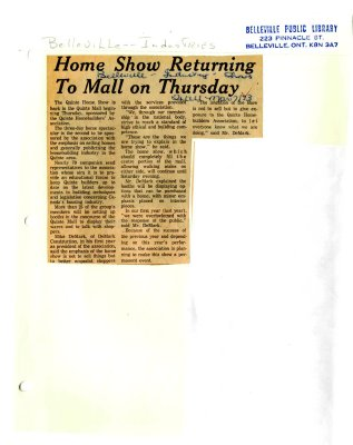 Home Show Returning To Mall on Thursday