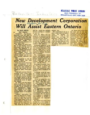 New Development Corporation Will Assist Eastern Ontario
