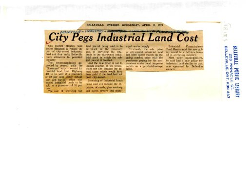 City Pegs Industrial Land Cost