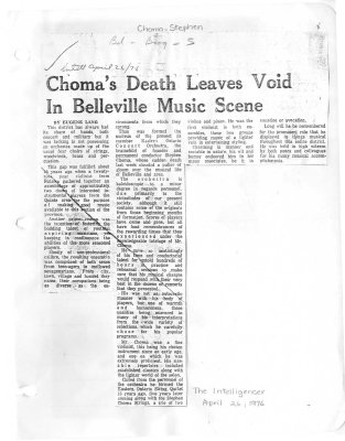 Choma's Death Leaves Void In Belleville Music Scene