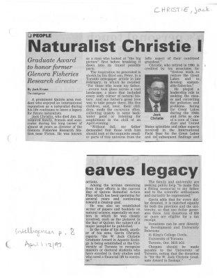 Naturalist Christie leaves legagy