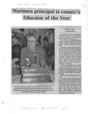 Marmora principal is county's Educator of the Year