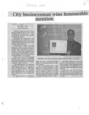 City businessman wins honourable mention