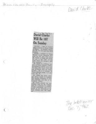 David Clarke Will Be 107 On Sunday