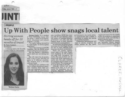 Up With People show snags local talent