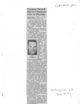 Former Tweed Reeve Clemens dies in Florida