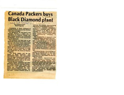 Canada Packers Buys Black Diamond plant