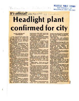 Headlight plant confirmed for city
