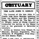 Goslin, John N (Died)