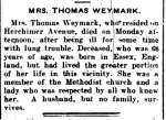 Weymark, Mrs. Thomas (Died)