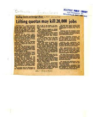 Lifting quotas may kill 20, 000 jobs