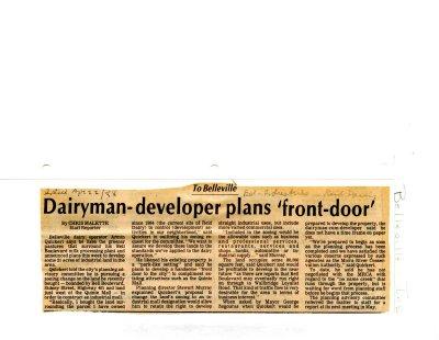Dairyman-developer plans 'front-door'