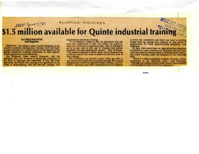 $1.5 million available for Quinte industrial training