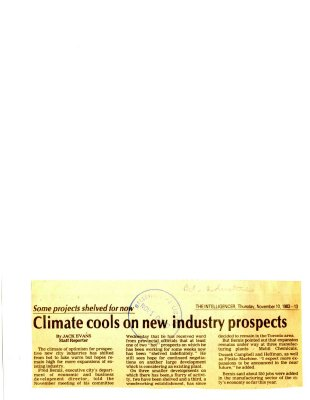 Climate cools on new industry prospects