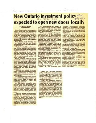 New Ontario investment policy expected to open new doors locally