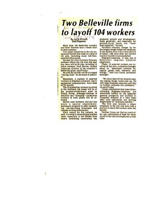 Two Belleville firms to layoff 104 workers