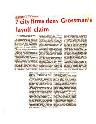 7 city firms deny Grossman's layoff claim