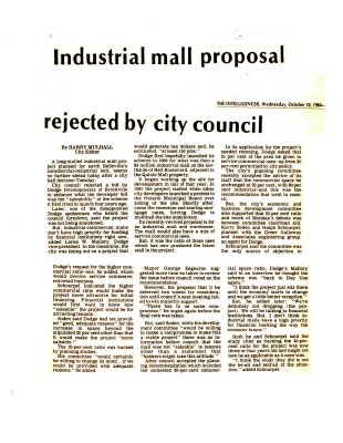 Industrial mall proposal rejected by city council