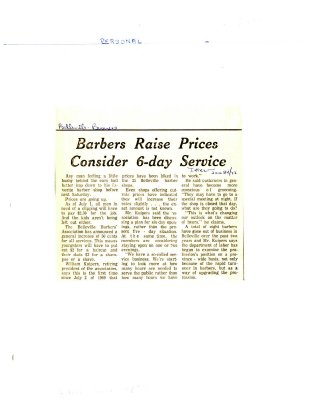 Barbers Raise Prices Consider 6-day Service