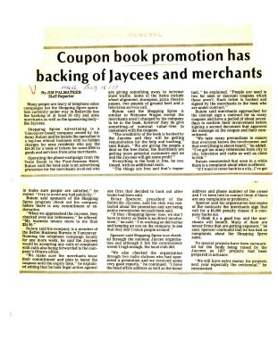 Coupon book promotion has backing of Jaycees and merchants
