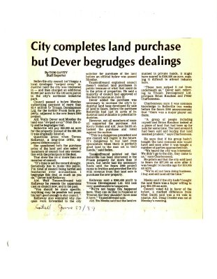 City completes land purchase but Dever begrudges dealings
