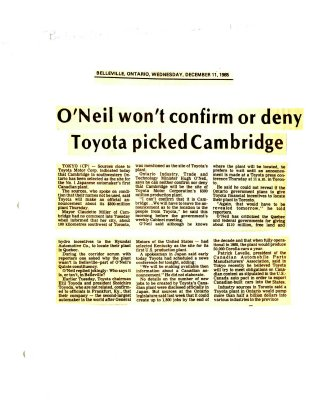 O'Neil won't confirm or deny Toyota picked Cambridge