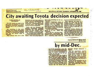 City awaiting Toyota decision expected by mid-Dec.
