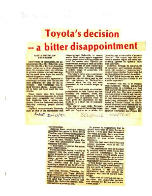 Toyota's decision -- a bitter disappointment
