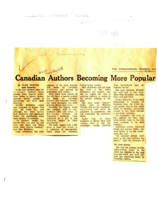 Canadian Authors Becoming More Popular