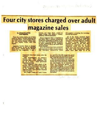 Four city stores charged over adult magazine sales