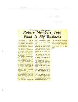 Rotary Members Told Food is Big Business