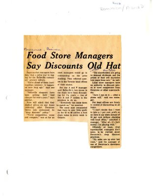 Food Store Managers Say Discounts Old Hat