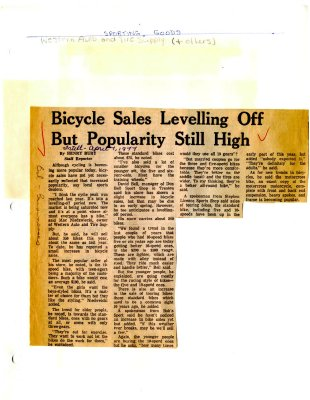 Bicycle Sales Levelling Off But Popularity Still High