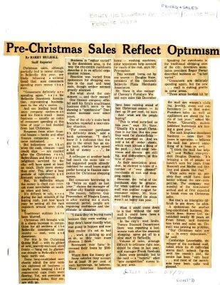 Pre-Christmas Sales Reflect Optimism