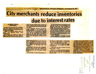 City merchants reduce inventories due to interest rates
