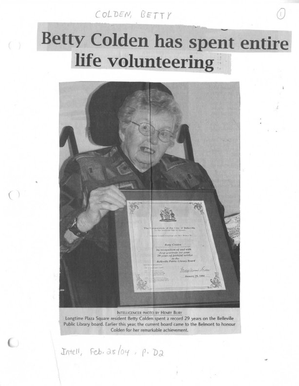 Betty Colden has spent entire life volunteering