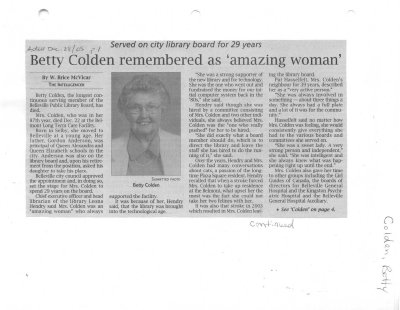 Betty Colden remembered as 'amazing woman'