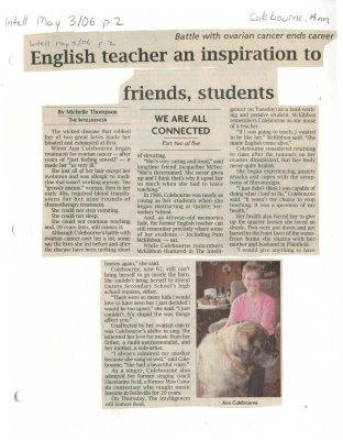 English teacher an inspiration to friends, students