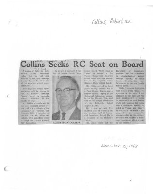 Collins Seeks RC Seat on Board