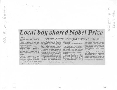 Local boy shared Nobel Prize
