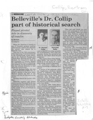 Belleville's Dr. Collip part of historical search