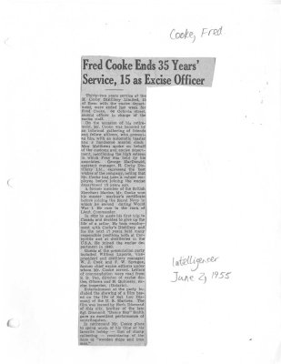 Fred Cooke Ends 35 Years' Service, 15 as Excise Officer