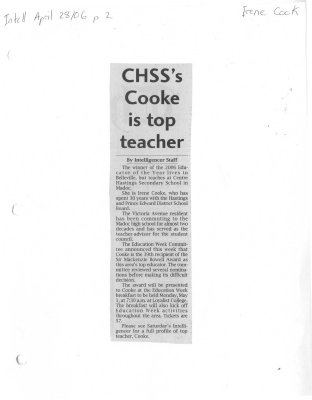 CHSS's Cooke is top teacher