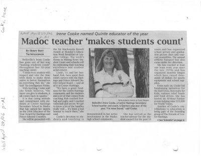 Madoc teacher 'makes students count'